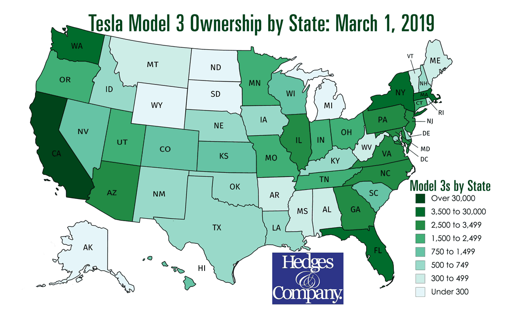 Tesla Model 3 owners by state